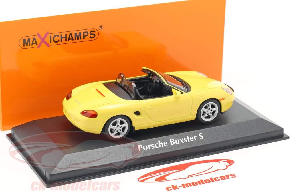 Porsche Boxster S Cabriolet Opførselsår 1999 gul 1:43 Minichamps