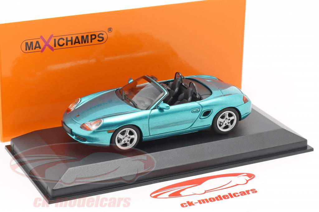 Porsche Boxster S Cabriolet Bouwjaar 1999 turkoois metalen 1:43 Minichamps
