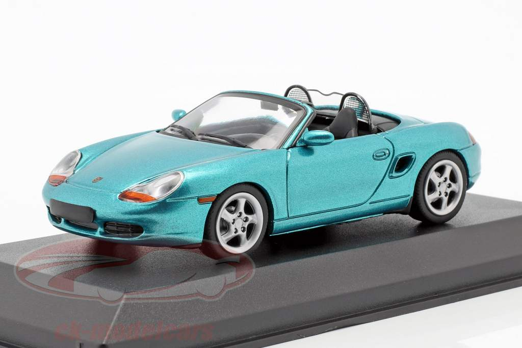 Porsche Boxster S cabriolet année de construction 1999 turquoise métallique 1:43 Minichamps