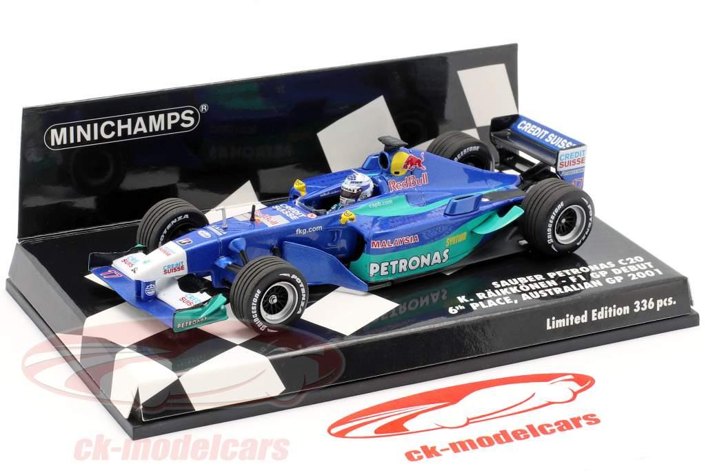Kimi Räikkönen Sauber C20 #17 6th F1 Debut Australien GP 2001 1:43 Minichamps
