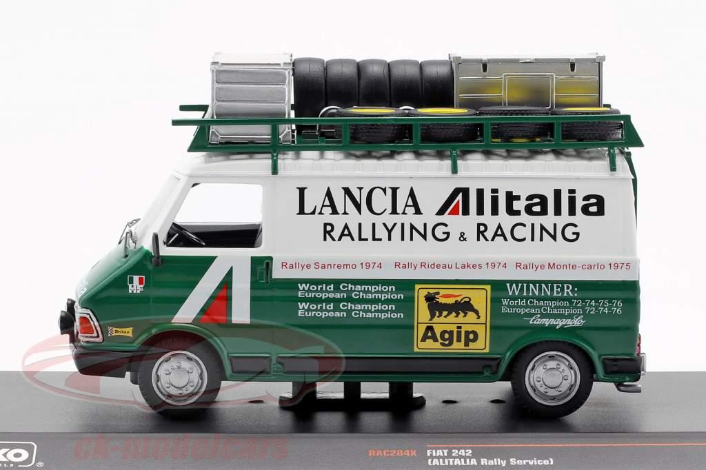 Fiat 242 furgone Alitalia Lancia Rallye Service 1974 verde / bianco 1:43 Ixo