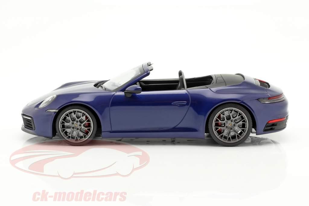 Porsche 911 (992) Carrera 4S cabriolé 2019 azul metálico 1:18 Minichamps