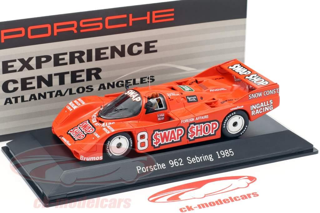 Porsche 962 #8 Vencedor 12h Sebring 1985 Wollek, Foyt 1:43 Spark