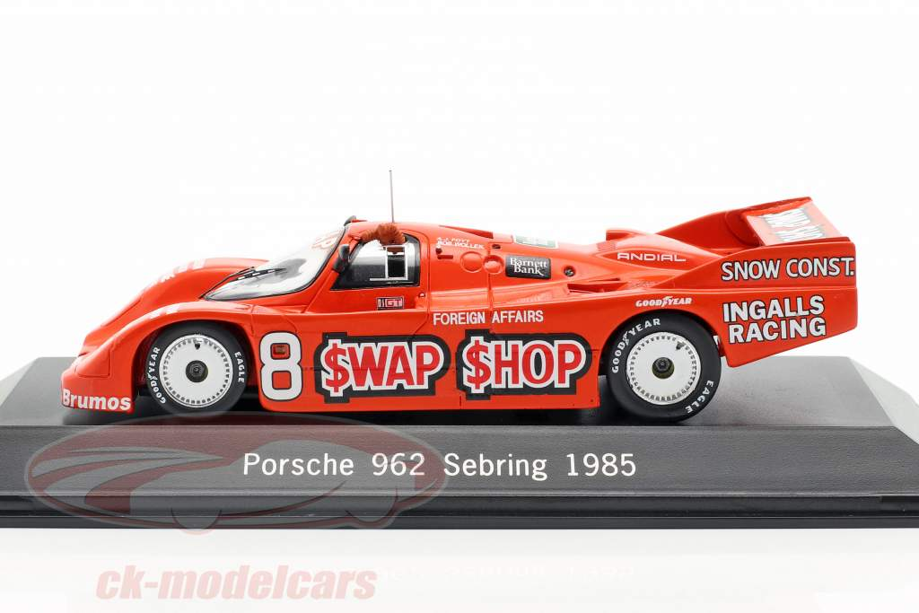 Porsche 962 #8 Winnaar 12h Sebring 1985 Wollek, Foyt 1:43 Spark