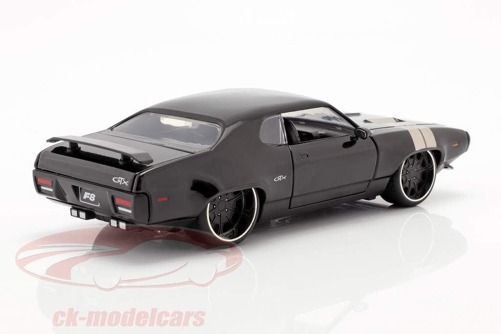 Dom's Plymouth GTX Fast and Furious 8 2017 黒 1:24 Jada Toys