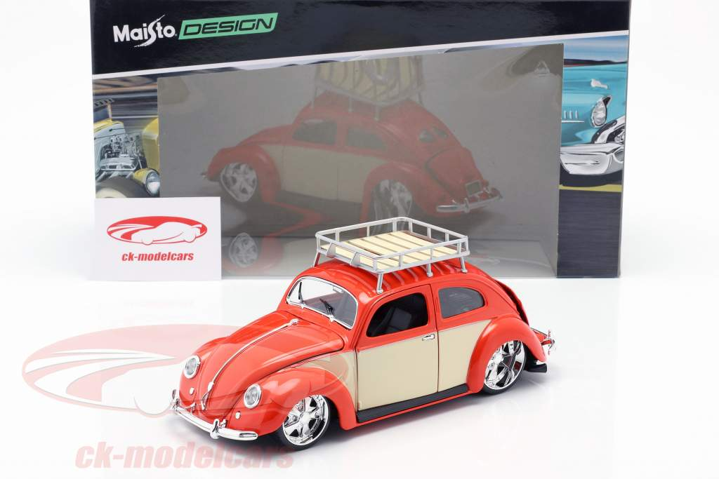 Volkswagen VW kever Bouwjaar 1951 rood / crème wit 1:18 Maisto