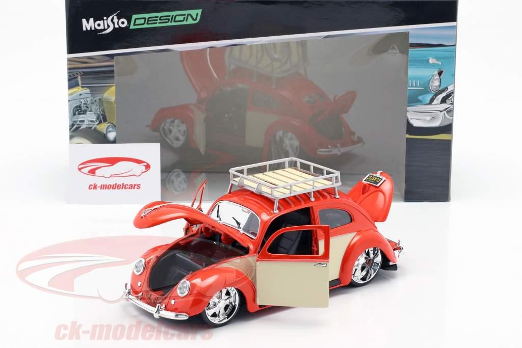 Volkswagen VW scarafaggio anno di costruzione 1951 rosso / crema bianco 1:18 Maisto