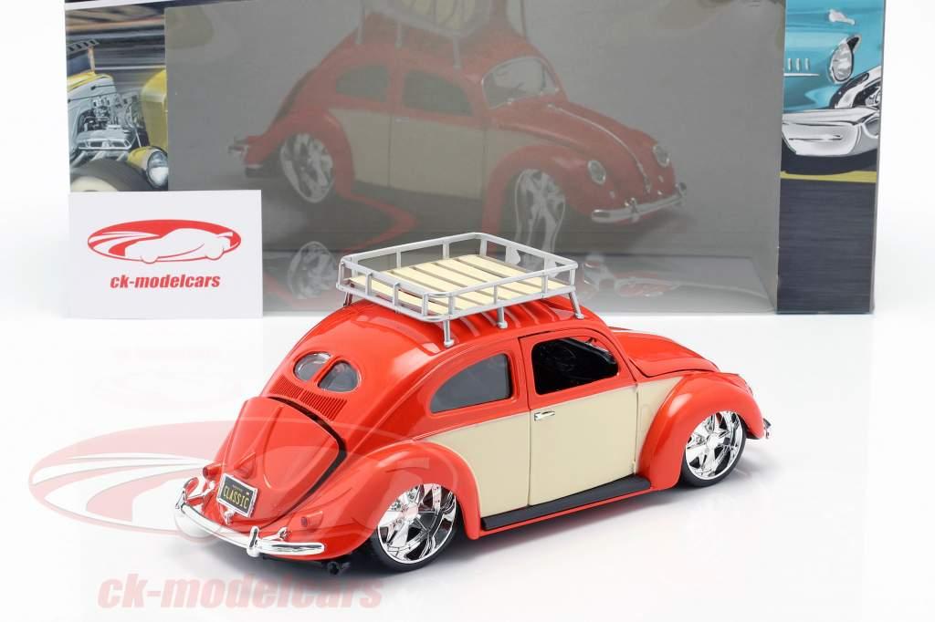Volkswagen VW besouro ano de construção 1951 vermelho / creme branco 1:18 Maisto