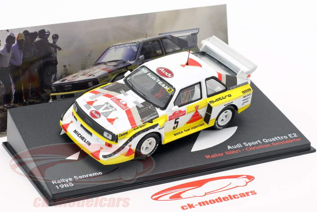 Audi Quattro Sport E2 #5 winner Rallye San Remo 1985 Röhrl, Geistdörfer 1:43 Altaya