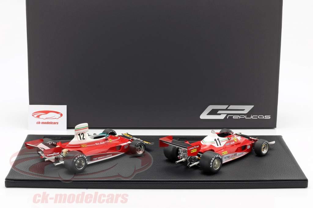 2-Car Set World Champion N. Lauda formula 1 1975 & 1977 Ferrari 312 T 1:18 GP Replicas