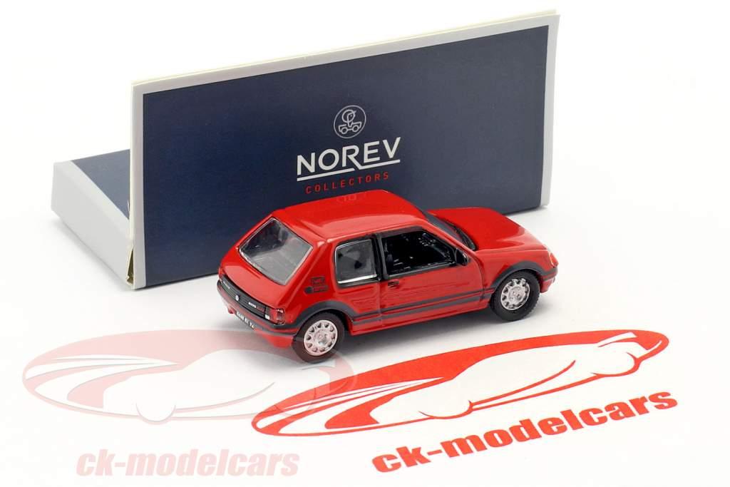 Peugeot 205 GTI 1.9 ano de construção 1987 vermelho 1:87 Norev