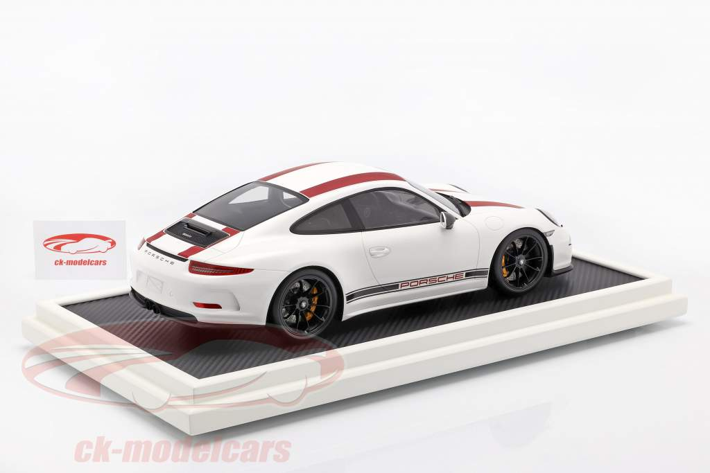 Porsche 911 (991) R Type anno di costruzione 2016 con vetrina rosso / bianco 1:12 Spark / 2. elezione