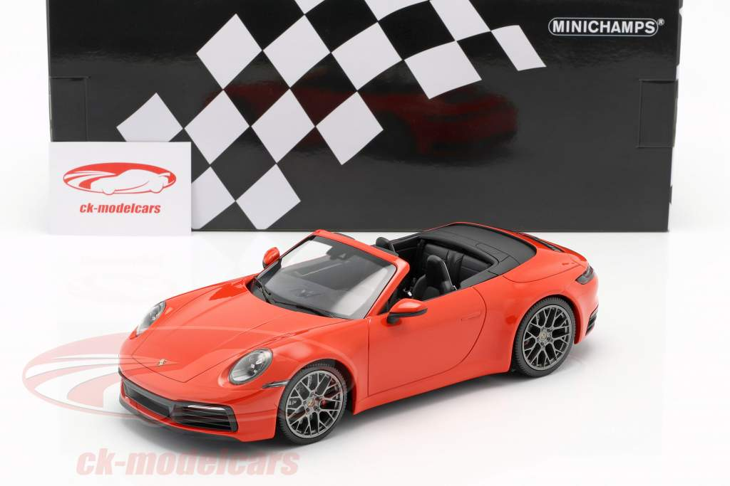 Porsche 911 (992) Carrera 4S Cabriolet 2019 orange 1:18 Minichamps
