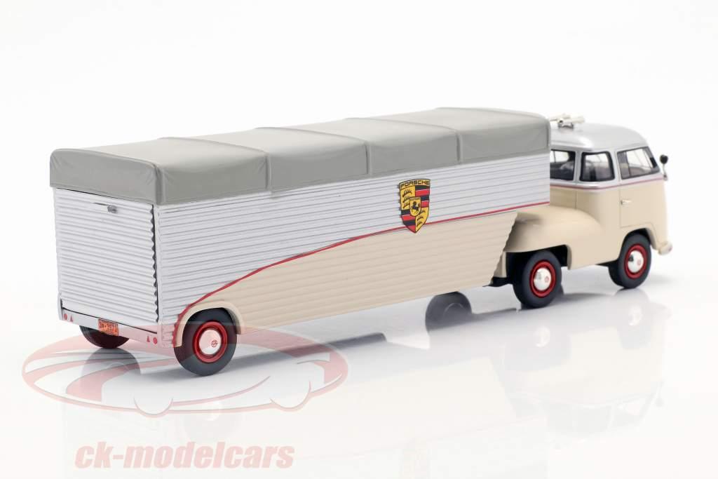 Volkswagen VW T1 racingtransportør Porsche beige / sølv / grå 1:43
