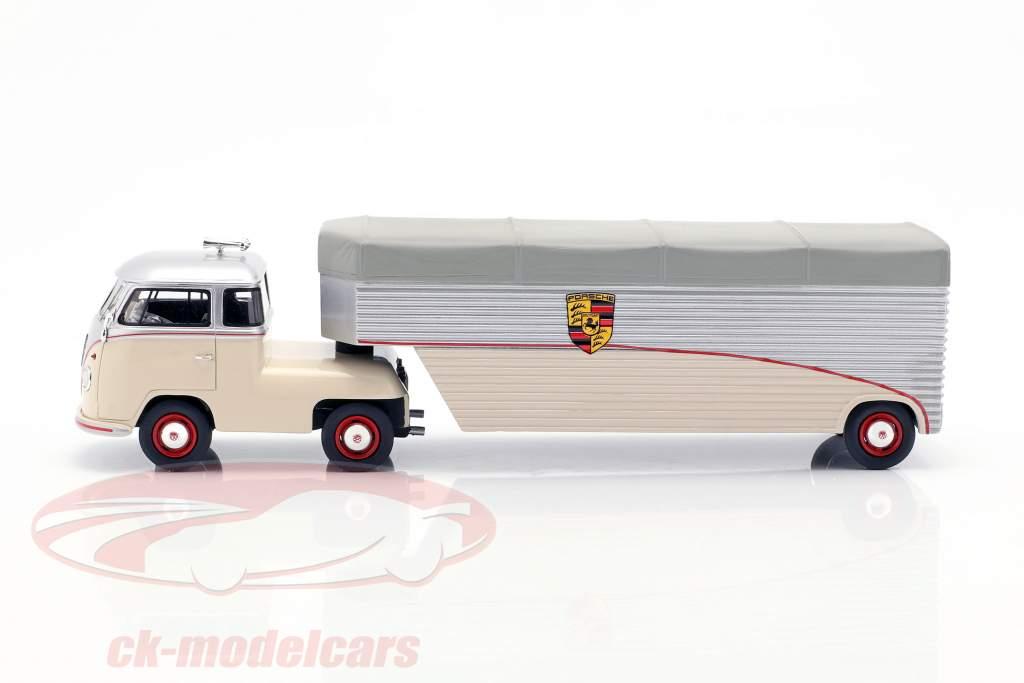 Trasportatore da corsa Volkswagen VW T1 Porsche beige / argento / grigio 1:43