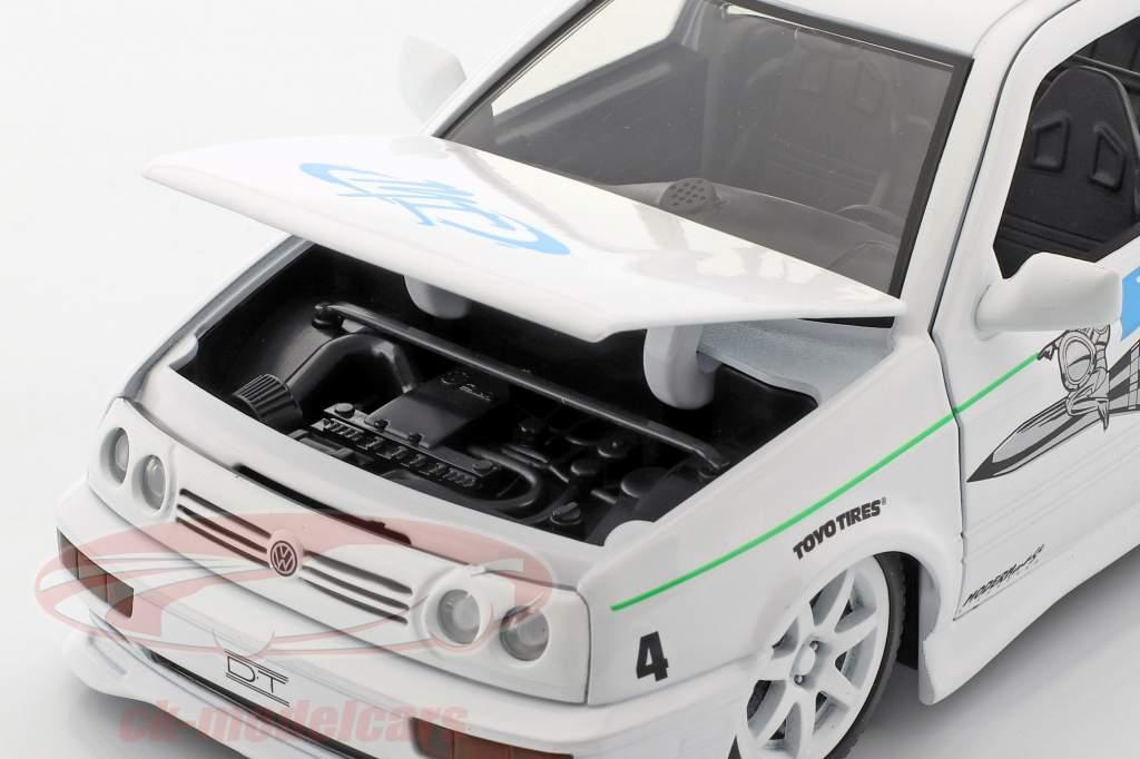 Jesse's Volkswagen VW Jetta A3 de la película Fast & Furious 2001 blanco / azul 1:24 Jada Toys