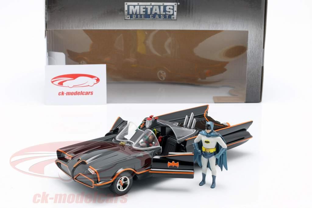 Batmobile med Batman og Robin figur Classic TV-Serie 1966 1:24 Jada Toys