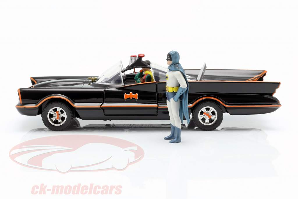Batmobile com Batman e Robin figura Classic TV-Serie 1966 1:24 Jada Toys