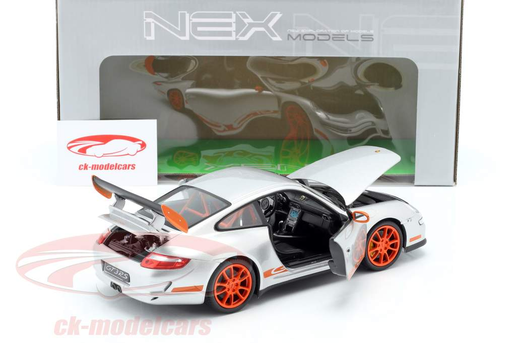 Porsche 911 (997) GT3 RS Coupe Baujahr 2007 silbergrau / orange 1:18 Welly