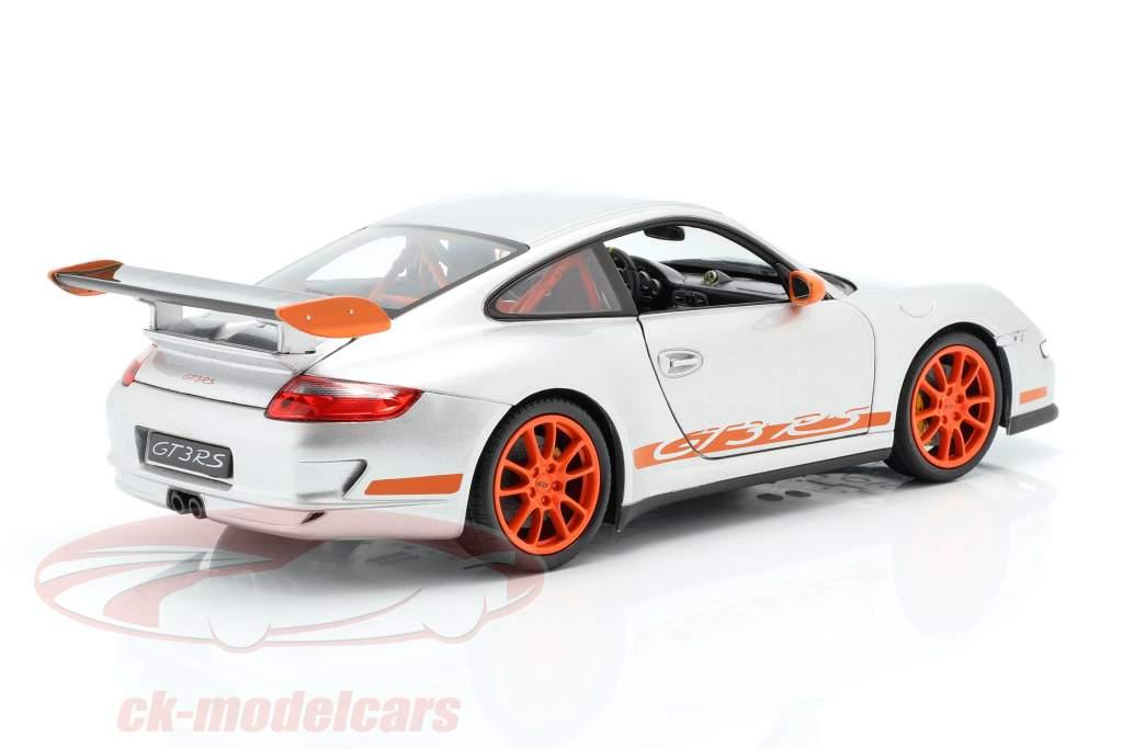 Porsche 911 (997) GT3 RS Coupe Byggeår 2007 sølvgrå / orange 1:18 Welly