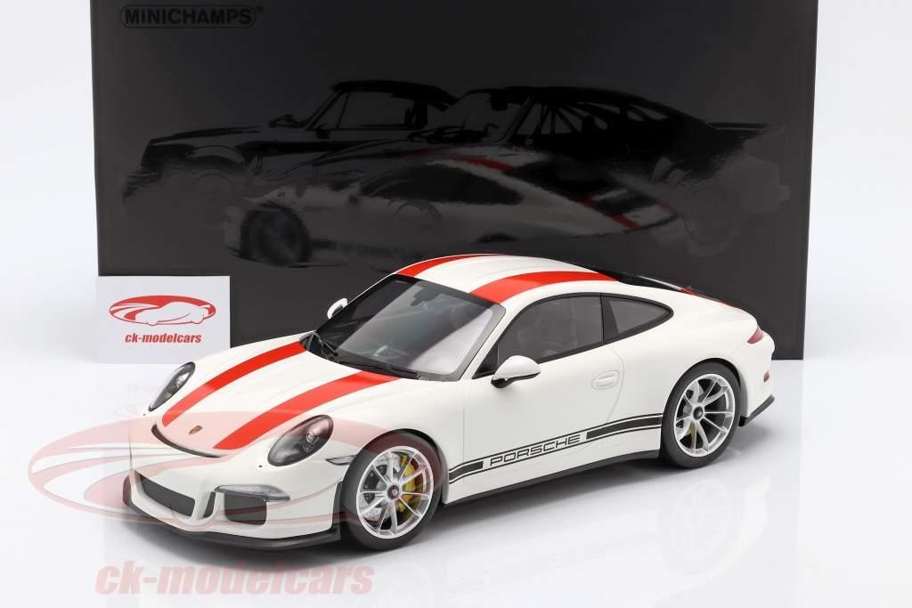 Porsche 911 (991) R Bouwjaar 2016 wit met rood strepen 1:12 Minichamps