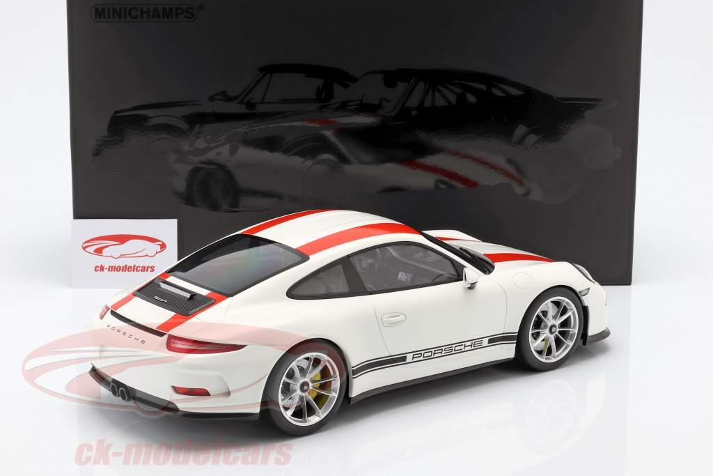 Porsche 911 (991) R year 2016 white with red stripes 1:12 Minichamps