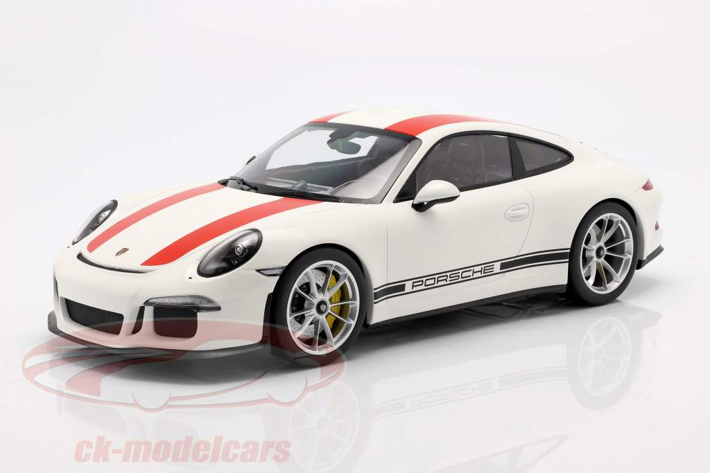 Porsche 911 (991) R año de construcción 2016 blanco con rojo rayas 1:12 Minichamps