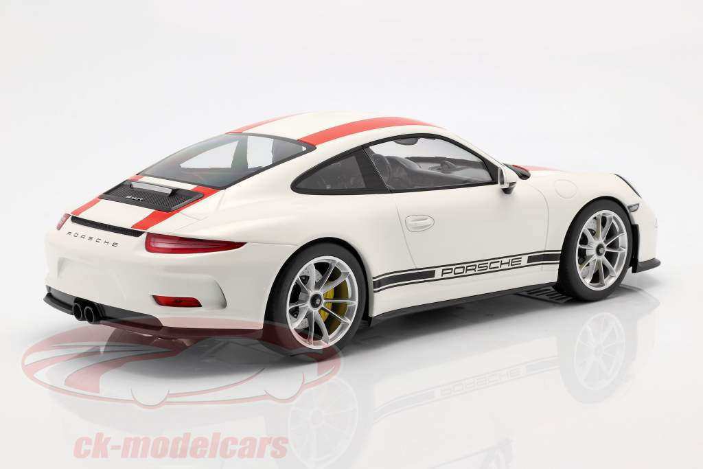 Porsche 911 (991) R anno di costruzione 2016 bianco con rosso strisce 1:12 Minichamps
