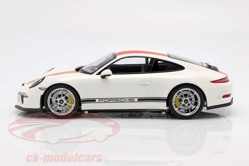 Porsche 911 (991) R Baujahr 2016 weiß mit roten Streifen 1:12 Minichamps
