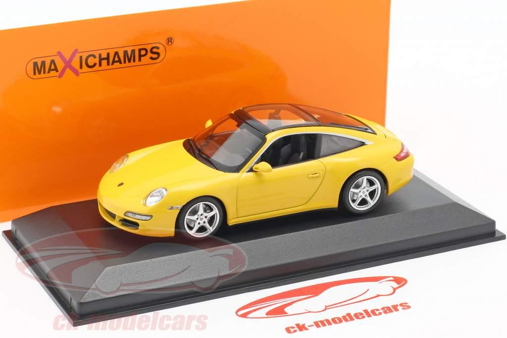 Porsche 911 (997) Targa año de construcción 2006 amarillo 1:43 Minichamps