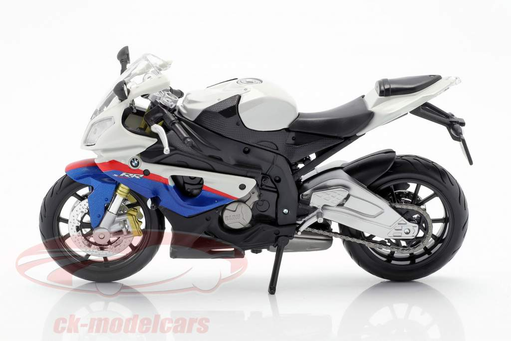 BMW S1000 RR branco / preto / azul / vermelho 1:12 Maisto
