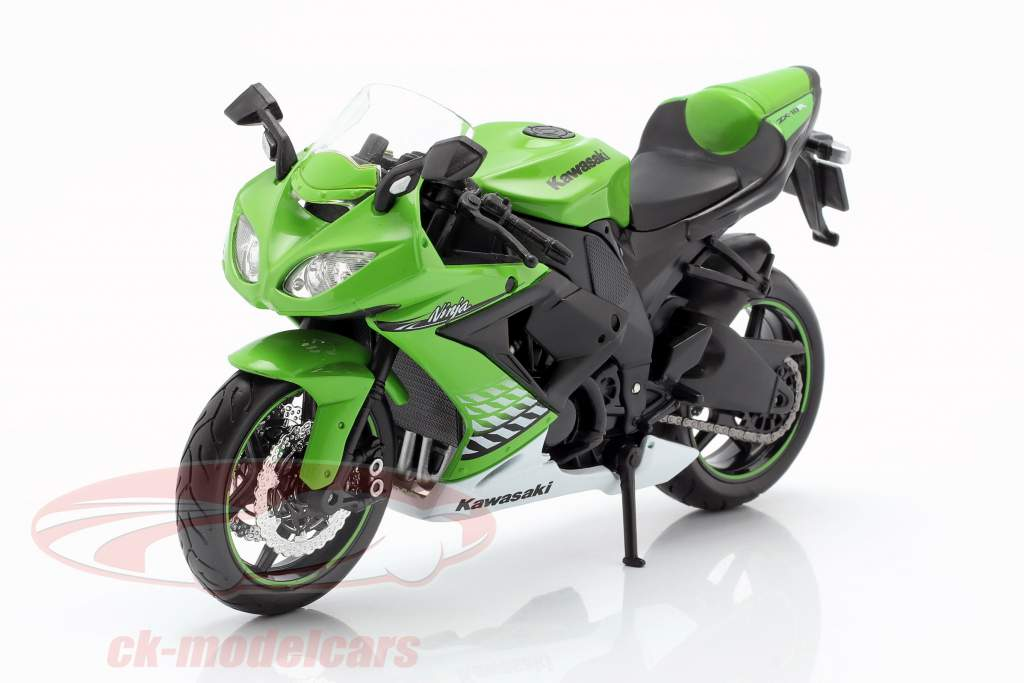 Kawasaki Ninja ZX-10R anno di costruzione 2010 verde / bianco / nero 1:12 Maisto