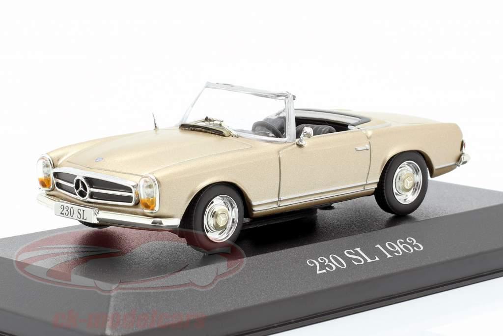 Mercedes-Benz 230 SL (W113) ano de construção 1963 ouro 1:43 Atlas