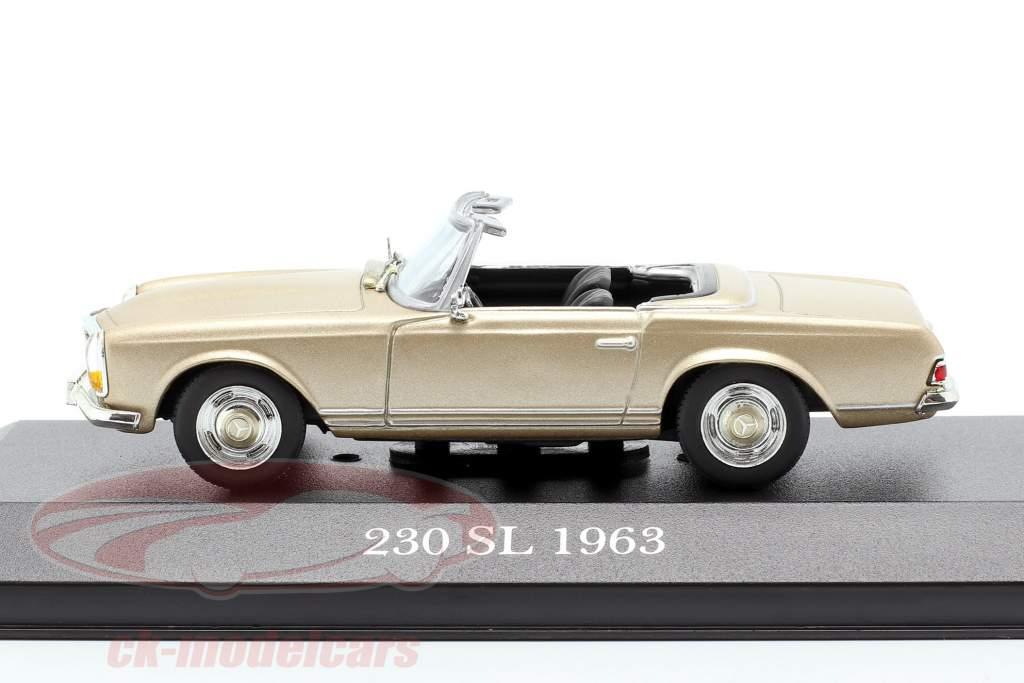 Mercedes-Benz 230 SL (W113) Bouwjaar 1963 goud 1:43 Atlas