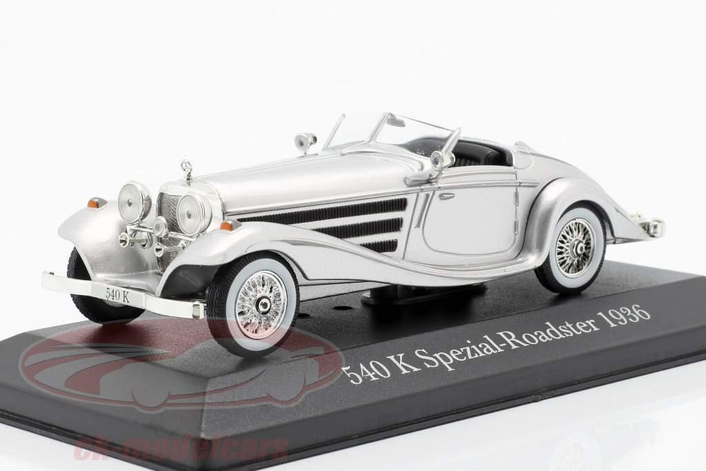Mercedes-Benz 540K Roadster speciale (W29) anno di costruzione 1936 argento 1:43 Atlas