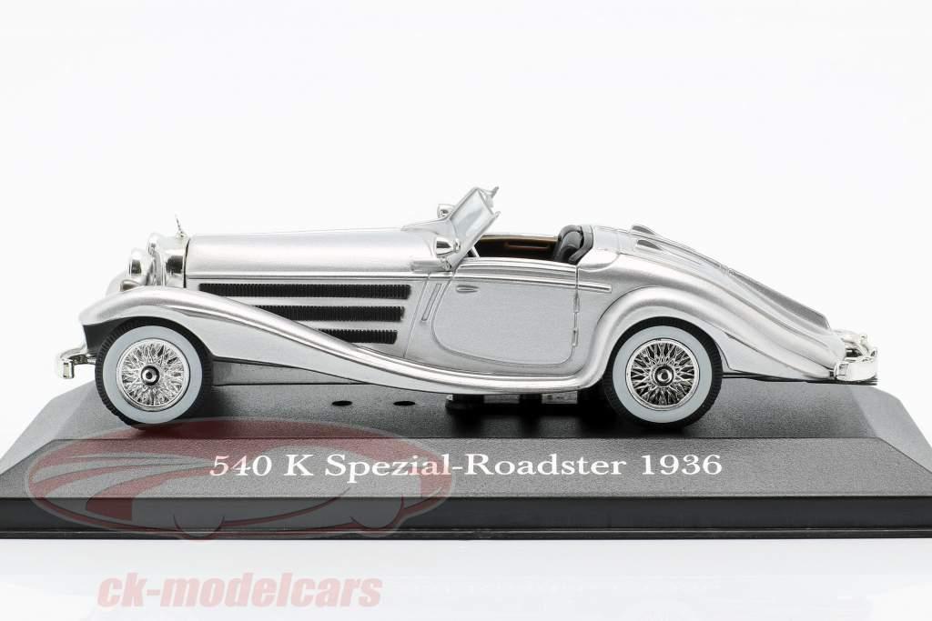 Mercedes-Benz 540K Roadster especial (W29) ano de construção 1936 prata 1:43 Atlas