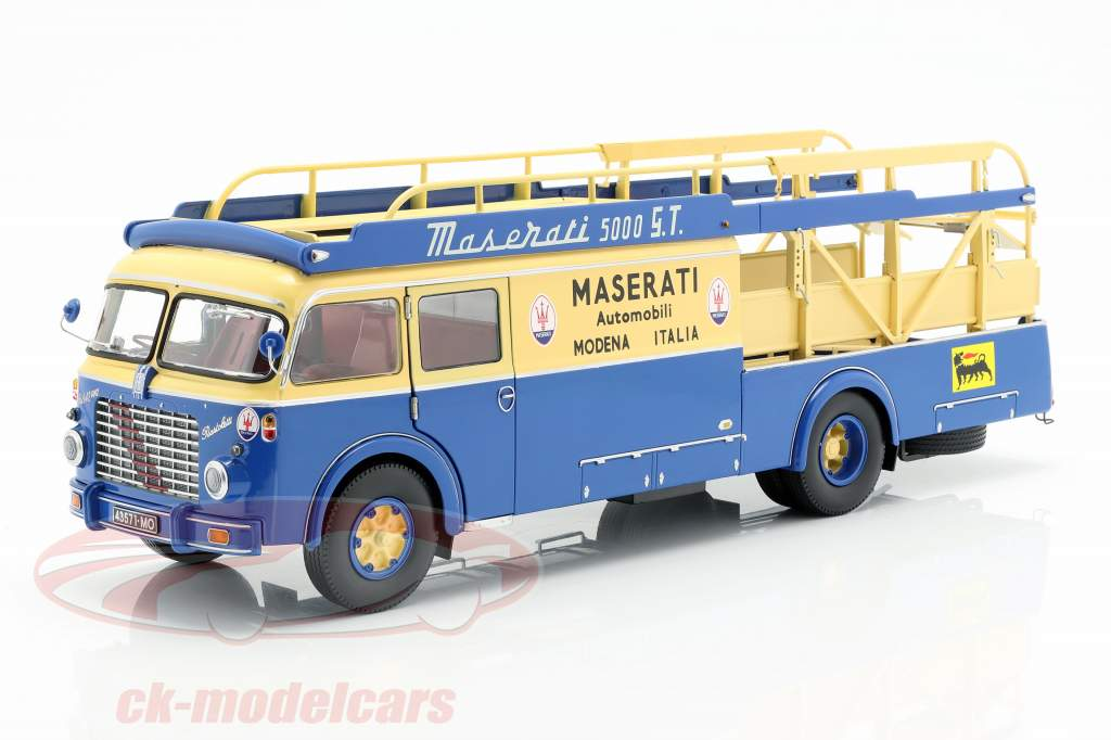 Fiat 642 RN2 Bartoletti Maserati Renntransporter 1957 blau / gelb 1:18 CMR