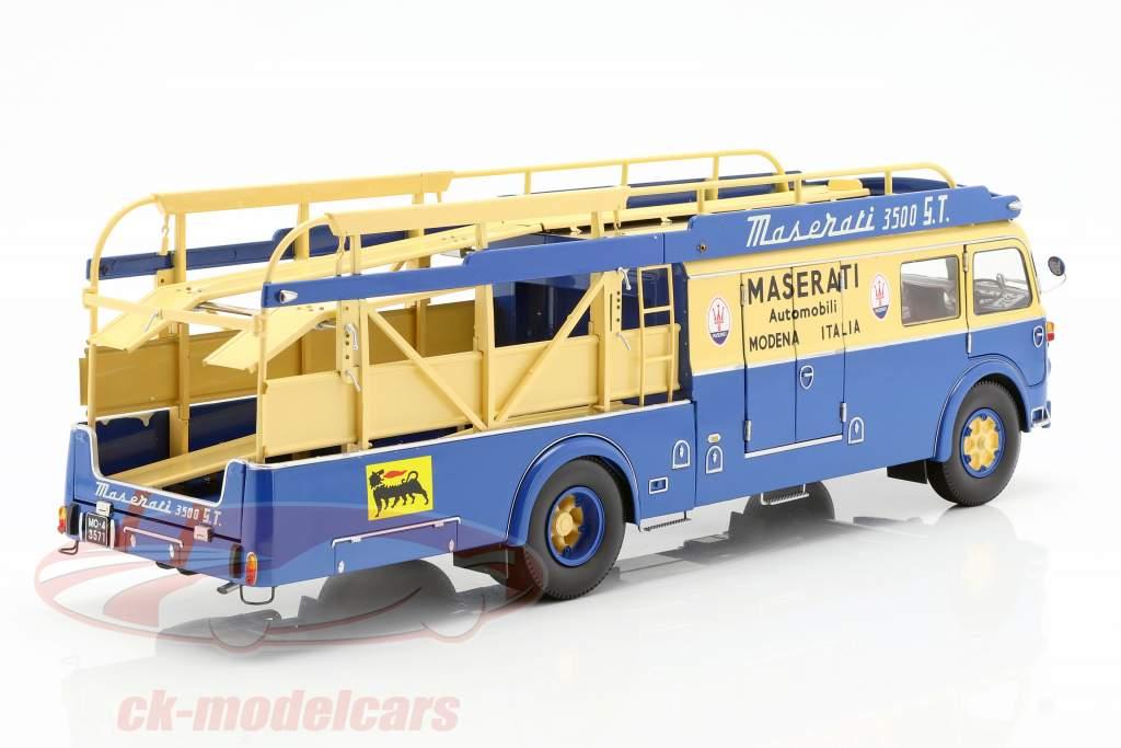 Fiat 642 RN2 Bartoletti Maserati Race Car Transporter 1957 blue / yellow 1:18 CMR
