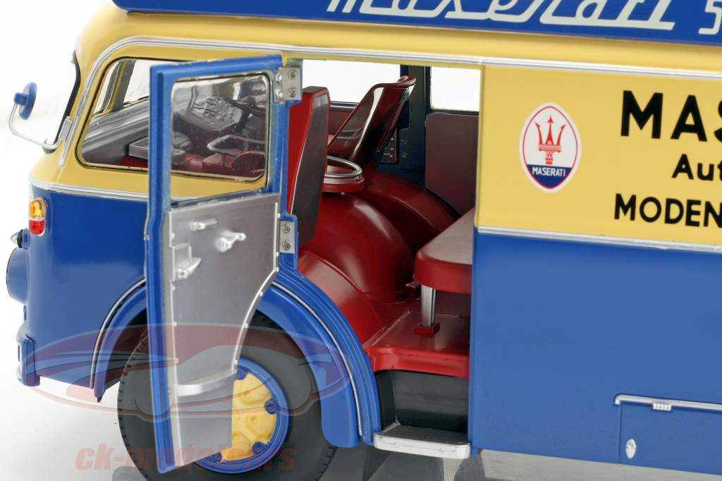 Fiat 642 RN2 Bartoletti Maserati course camion 1957 bleu / jaune 1:18 CMR
