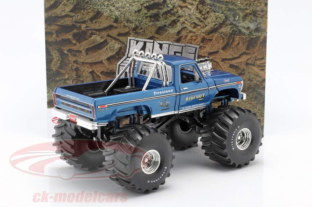 Ford F-250 Monster Truck Bigfoot #1 66 inch tires 1974 blau 1:18 Greenlight