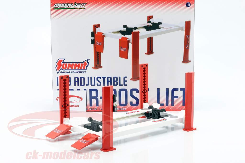 Adjustable four-post hydraulic lift red / white for model cars in 1:18 Greenlight