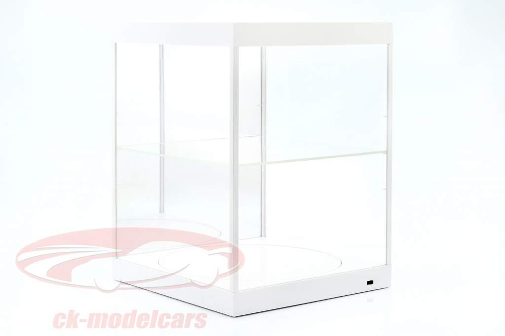 mostruário com iluminação LED, espelho e mesa giratória para escala 1:18 branco Triple9