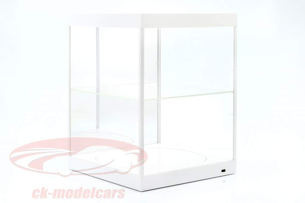 vetrina con illuminazione a LED, specchio e piatto per scala 1:18 bianco Triple9