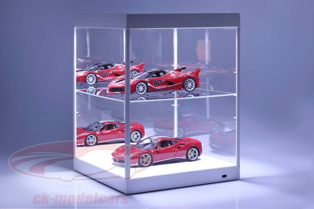 Showcase med LED-belysning, spejl og pladespiller til skala 1:18 hvid Triple9