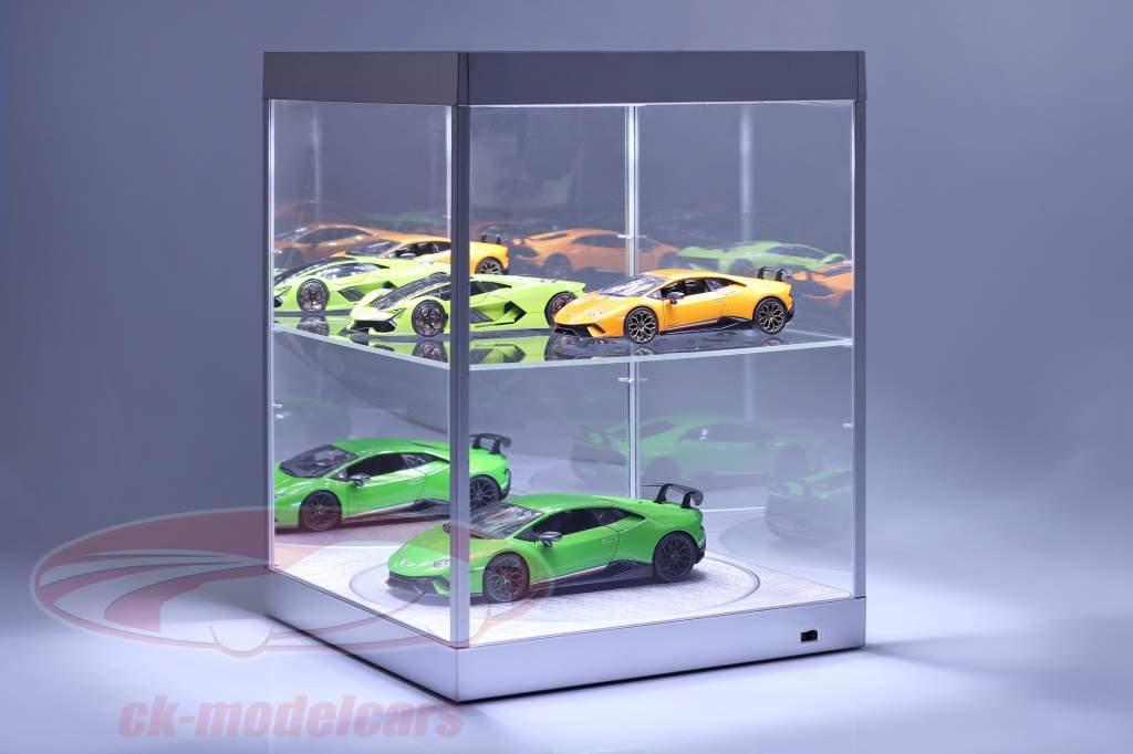 vitrine met LED-verlichting, spiegel en draaischijf voor schaal 1:18 zilver Triple9