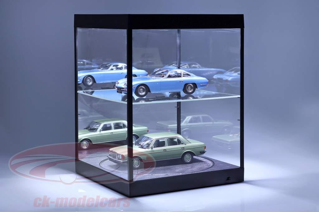 mostruário com iluminação LED, espelho e mesa giratória para escala 1:18 preto Triple9
