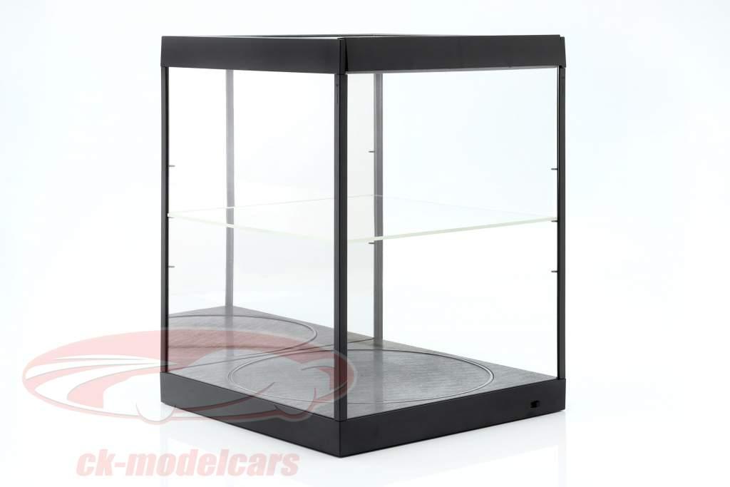 Showcase med LED-belysning, spejl og pladespiller til skala 1:18 sort Triple9