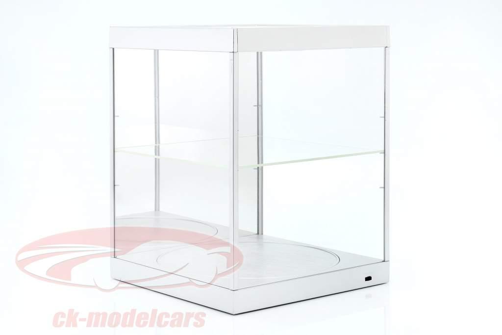 Showcase med LED-belysning, spejl og pladespiller til skala 1:18 sølv Triple9