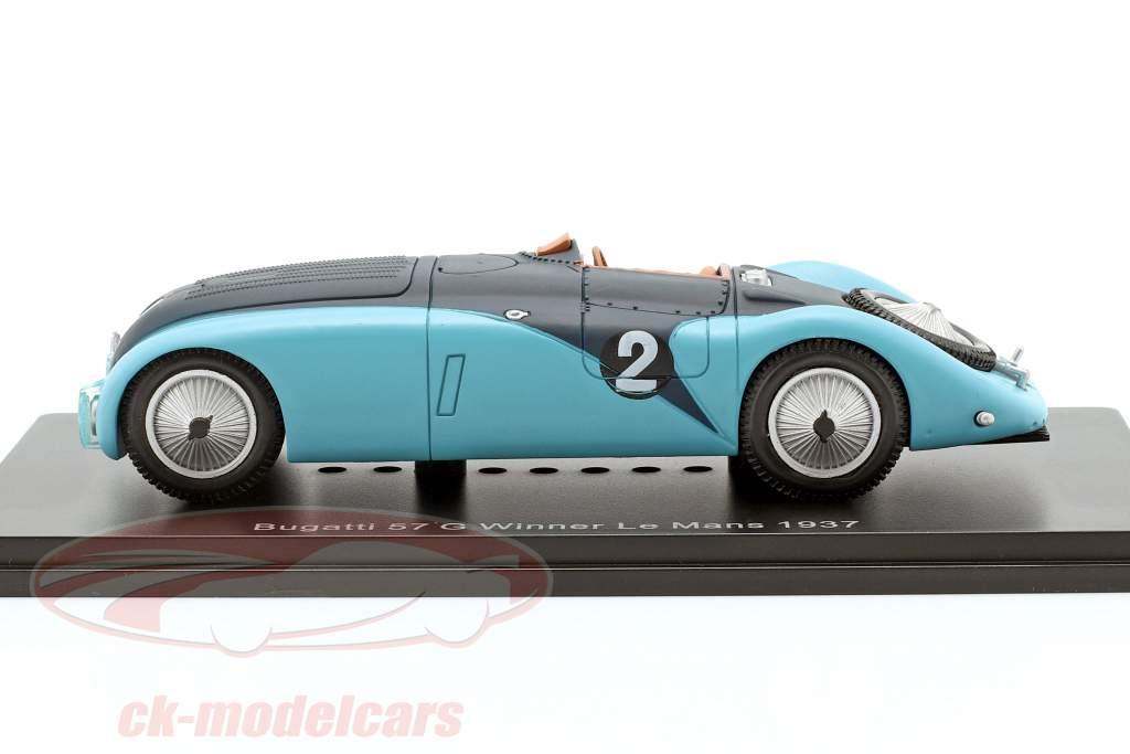 Bugatti 57G #2 winnaar 24h LeMans 1937 Wimille, Benoist 1:43 Spark