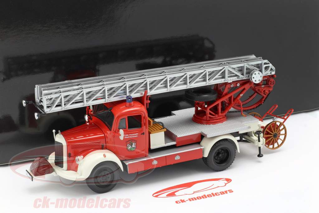 Mercedes-Benz L3500 bombeiros Bensheim ano de construção 1950 vermelho / branco 1:43 Minichamps
